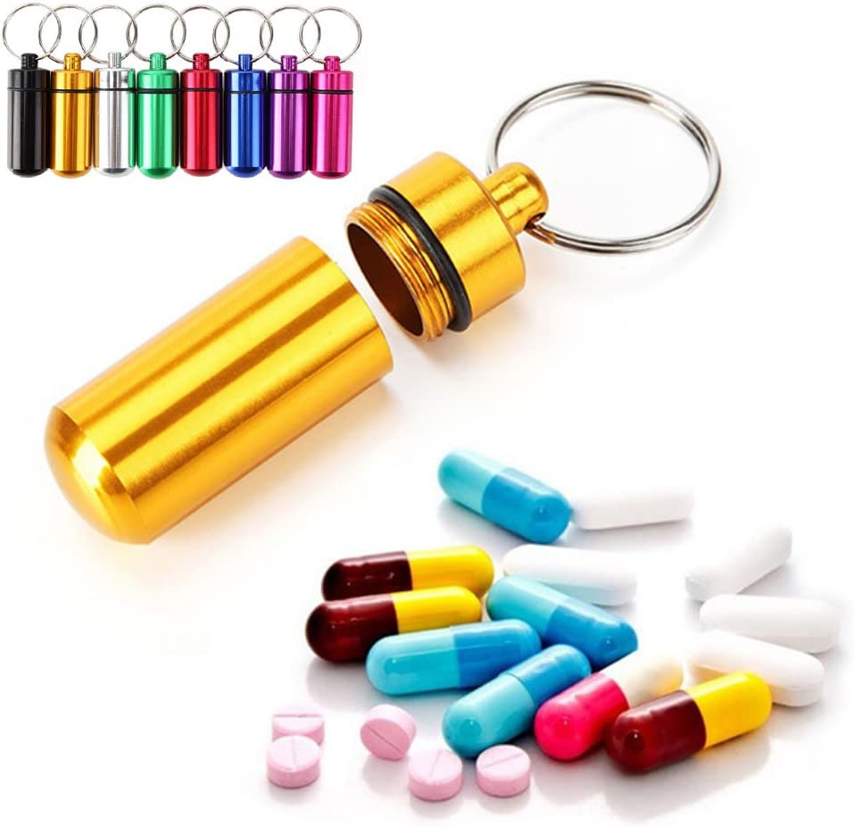 WINOMO 8pcs Waterproof Aluminum Pill Box Case Bottle Storage Drug Holder Container Keychain for Outdoor Camping Travel