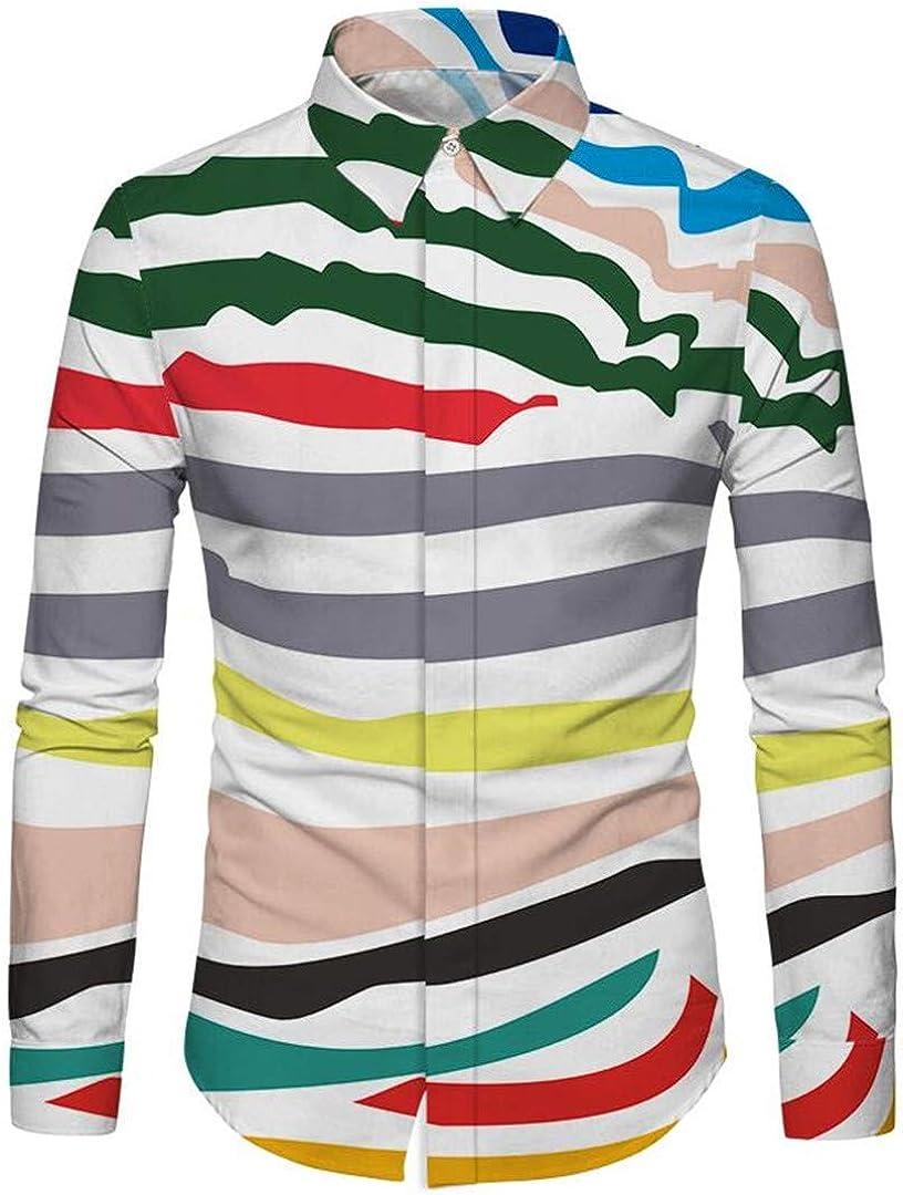 HURVXDWAQ Camisa de Manga Larga para Hombre, diseño de