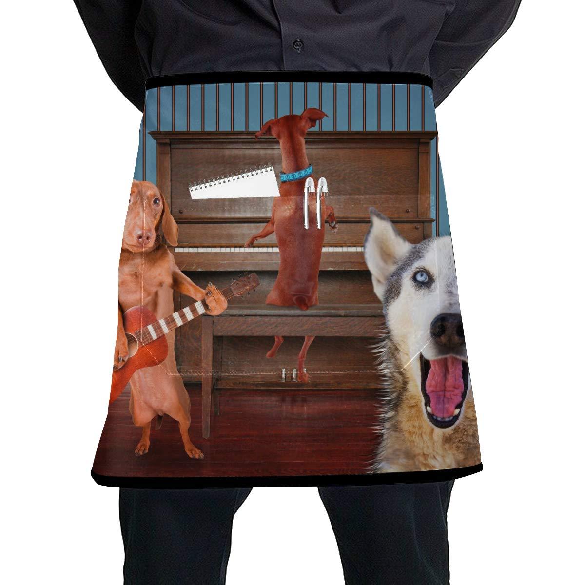 LIANGWE Delantal de Trabajo Cintura Un trío de Perros Cantando ...
