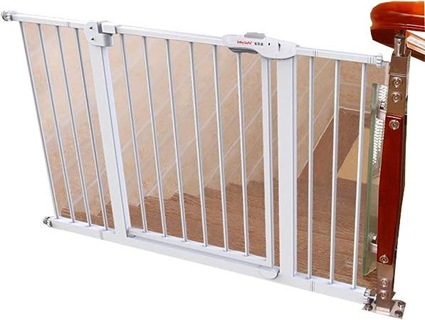 Barrera seguridad Puertas de bebé Extra Anchas para Puertas de escaleras, Montaje a presión de Metal Blanco Puerta para Mascotas con Puerta de Gato/Perro, 75-194 cm Barandilla Resistente a los golp: Amazon.es: