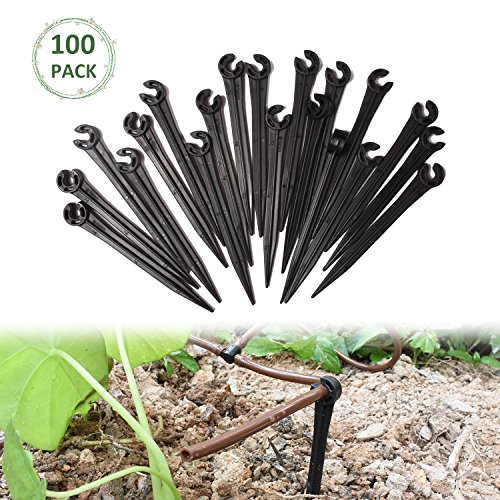 KORAM 100 Pack Plastic Irrigation Support Stakes for 1/4-Inch Tubing Hose Holder for Vegetable Garden, Flower Beds, Herbs, Garden