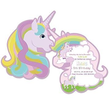 Invitaciones con diseño de unicornio arcoíris para fiesta de ...