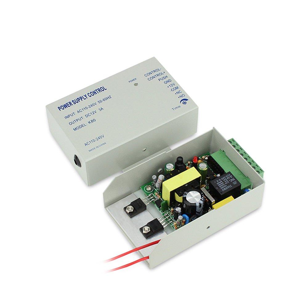 Amazon.com : Huella dactilar biométrica y contraseña y puerta de RFID entrada kit de control de acceso + bloqueo eléctrico tornillo + 110-240V fuente de ...