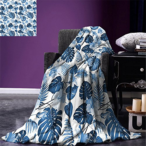 smallbeefly Leaf Custom printed Throw Blanket Palm and Mango Tree Branch and Hawaiian Hibiscus Flower Image Velvet Plush Throw Blanket Light Blue Turquoise and Dark Blue ()