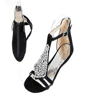 4b24a2ea5 T-JULY Womens Ladies Fashion Bohemia String Beaded Back Zipper Slide Flat  Sandals Comfy Slip