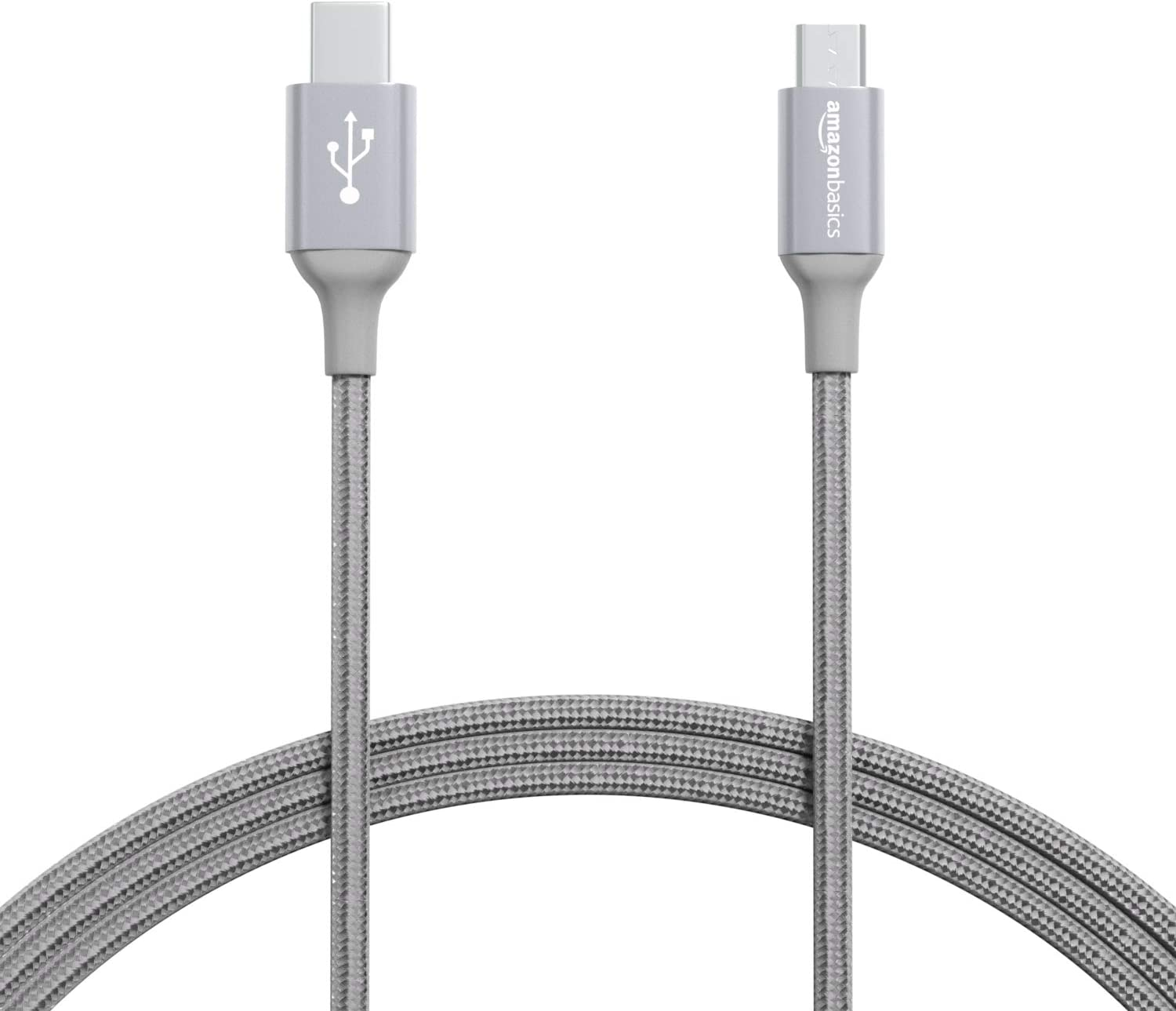 Gold 3 feet Basics Double Braided Nylon USB Type-C to Micro-B 2.0 Male Charger Cable
