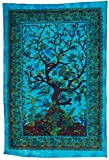 Luna Bazaar Boho Tree of Life Tapestry, Wall Hanging, and Bedspread (Medium, 4.5 x 7 Feet, Blue and Green, 100% Cotton, Fair Trade Certified)