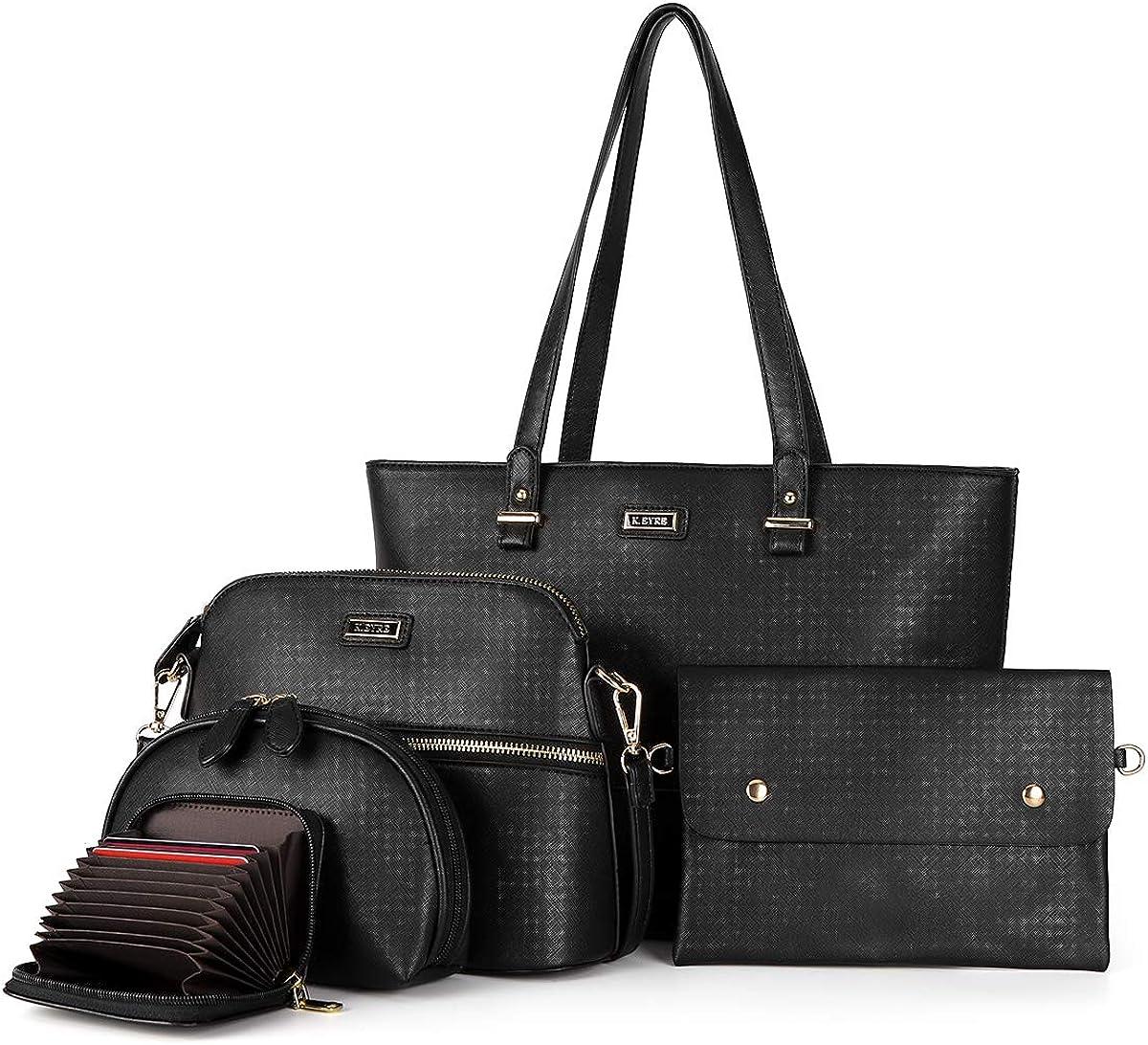 Tote Handbag for Women Vegan Leather Shoulder Bag Hobo bag Satchel Purse for Girls School Work & Shopping (L-2061#K122#401BLACK)