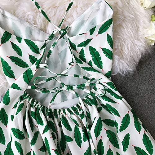 TSEINCE Abito Donna A-Line Stampa Floreale con Scollo av Backless Elegante Increspature Abiti A-Line 44177 green