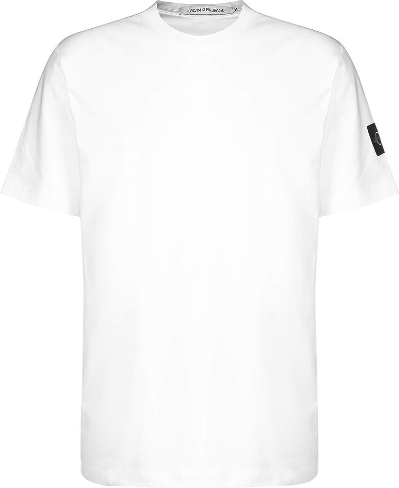 Calvin Klein Monogram Sleeve Badge Reg tee Camiseta, Blanco Brillante, XS para Hombre: Amazon.es: Ropa y accesorios