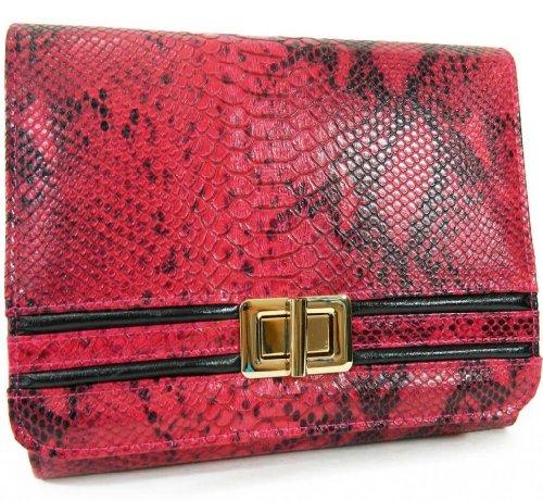 Fuschia Pink and Black Python Clutch and Messenger - Bag Mcqueen Steve