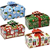 Gift Boutique 3D Christmas Cookie Boxes with Bows, Holiday Candy Treat Goody Paper Boxes and Bags Party Favors, Pack of 16