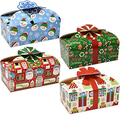 Christmas Holiday Gift Box - Gift Boutique 3D Christmas Cookie Boxes with Bows, Holiday Candy Treat Goody Paper Boxes and Bags Party Favors, Pack of 16