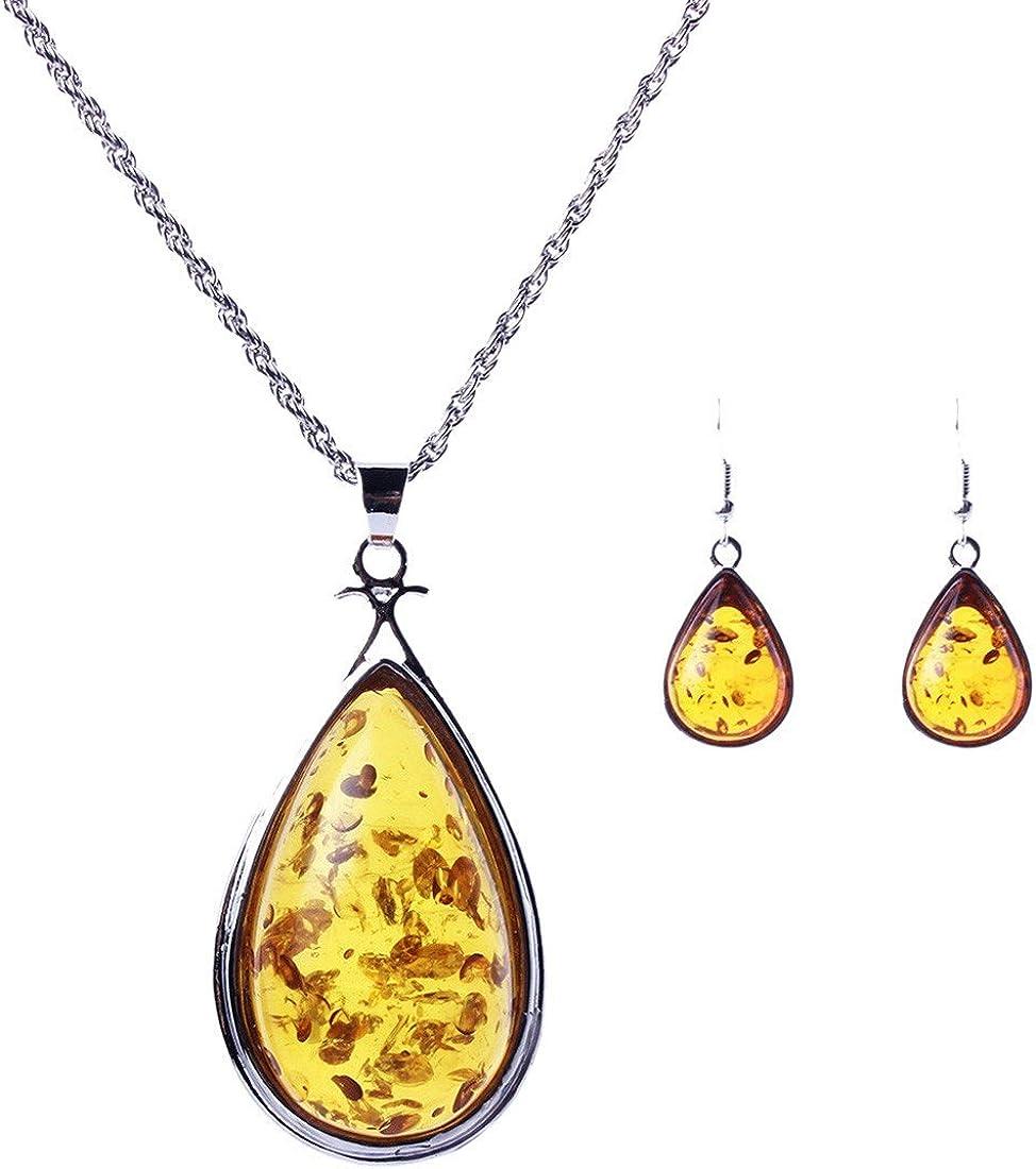 QIYUN.Z Piedras De Ambar Amarillo Collar Astilla Colgante Y Pendientes Favorito De Las Mujeres