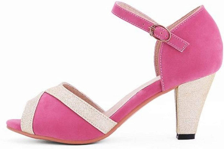 better-caress Heel Sandals Women Mixed Color Buckle Strap Thick Heel Shoes Elegant Sweet Summer Shoes,Black,6