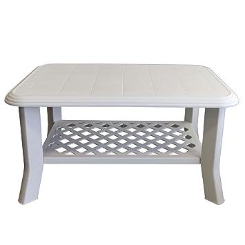 Plastique solide table de jardin 90 x 60 x 47 cm - Blanc/table de ...
