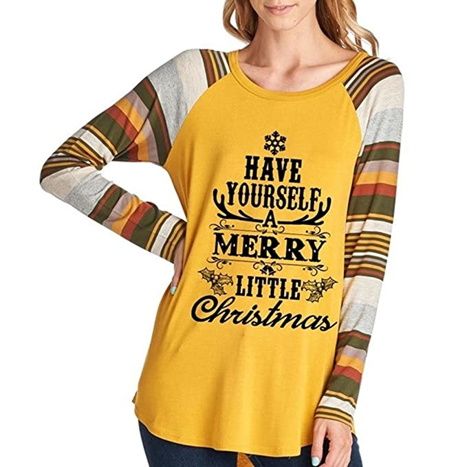 Blusa Mujer Navidad - Camisetas Manga Larga Camisa Cuello Redondo Tops Coloridas Mangas Bace Tops Primavera Otoño Negro Rojo Amarillo S / M / L / XL Yuxin: ...