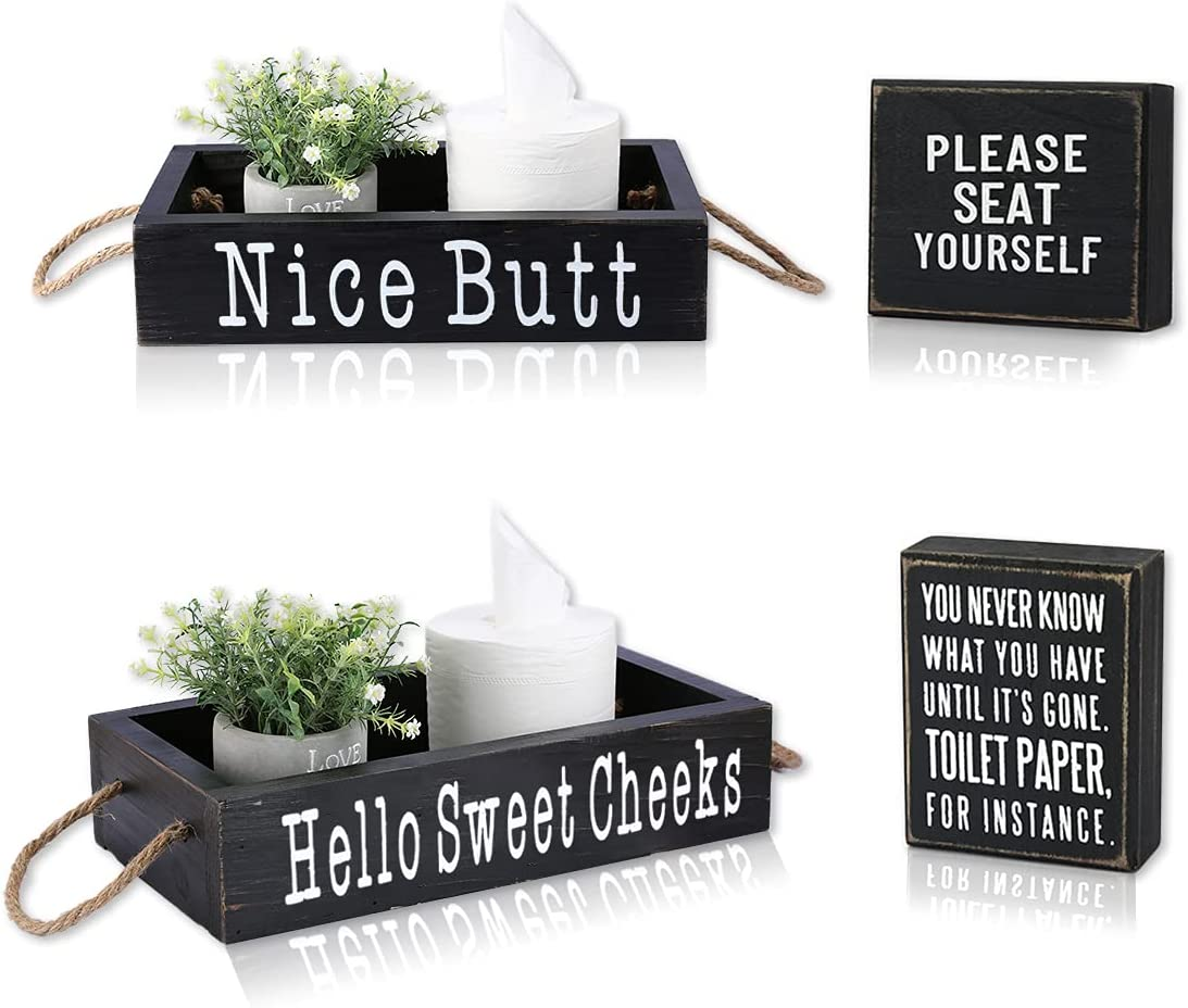 Bathroom Decor Box, 2 Sides - Funny Gift, Funny Toilet Paper Holder Perfect for Farmhouse Bathroom Decor, Toilet Paper Storage, Rustic Bathroom Decor(Black)