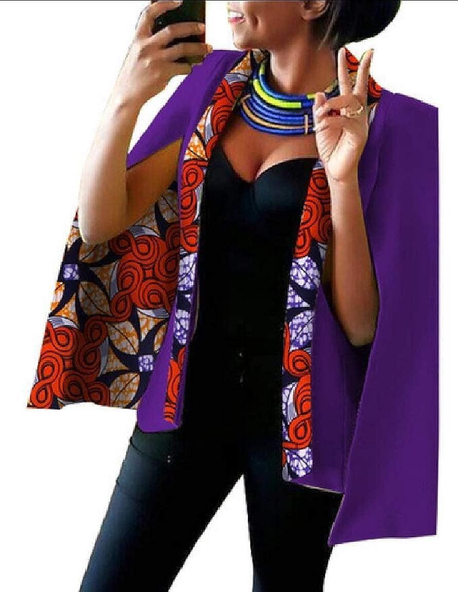 6 Keaac Womens African Dashiki Floral Print Cape Jacket Coat Blazer