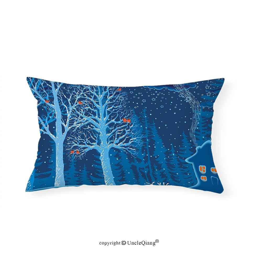 VROSELV Custom pillowcasesForest Winter Landscape with Show Covered Country House Hut in Trees Rural Picture for Bedroom Living Room Dorm Red Dark Sky Blue(16''x24'')