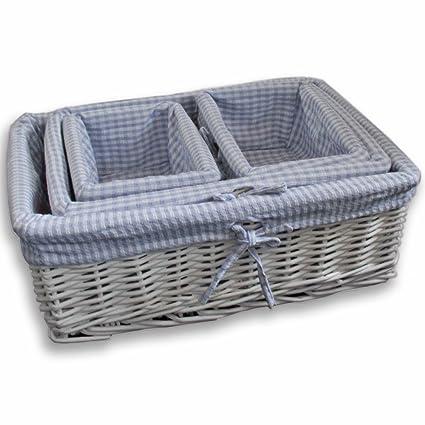 Rectangle Plastic Woven Baskets Hamper Home Office Bathroom Storage Blue