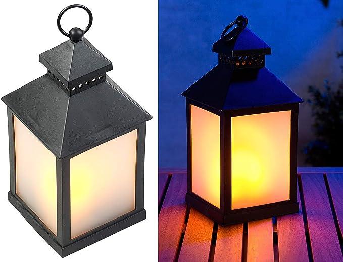 Lunartec Tuinlantaarn Led Lantaarn Met Realistisch Vlammenspel En Timer Zwart Windlicht Amazon Nl