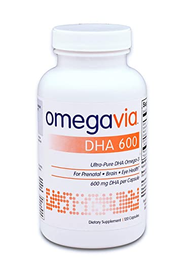 OmegaVia DHA 600 mg Omega-3 Fish Oil. Ultra-Pure DHA Concentration (