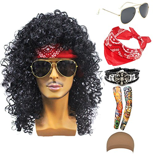 70s 80s 90s Men's Disco Halloween Rock Star Heavy Metal Wig Set Packet of 6 (Set-1) ()