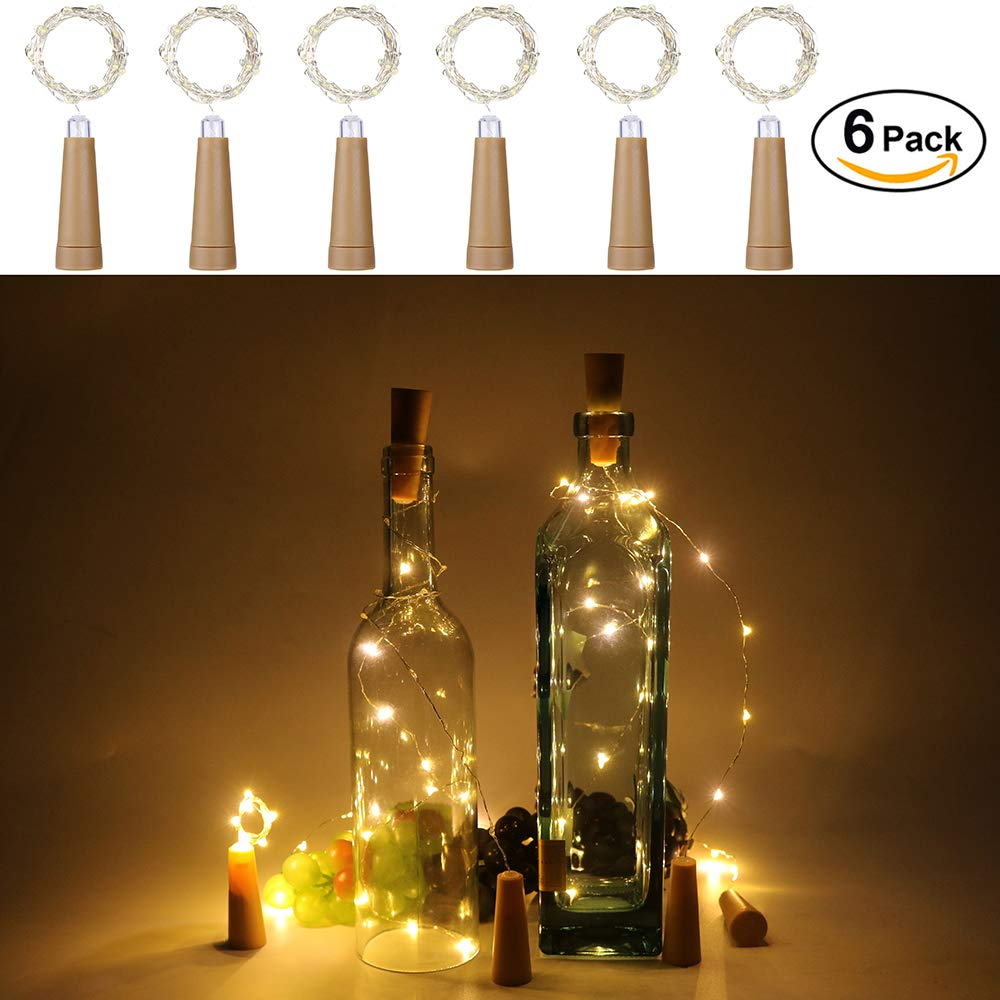 Anpro 6 Pack batería AAA (no incluida) Luz de Botella de Vino,2 metros 20 luces cadena LED en Forma de Corcho,Lámparas Decoradas para Decoración DIY Fiesta, ...