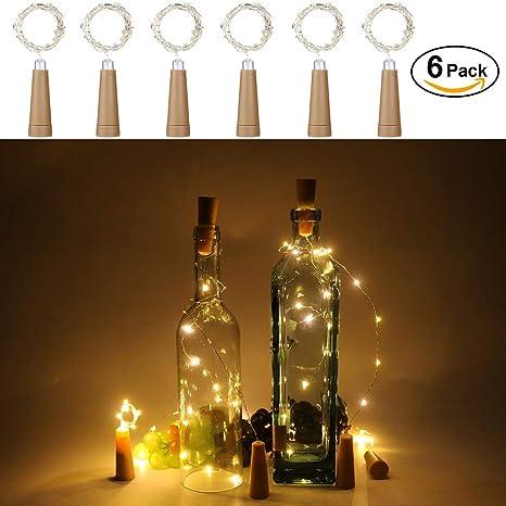Anpro 6 Pack batería AAA (no incluida) Luz de Botella de Vino,2