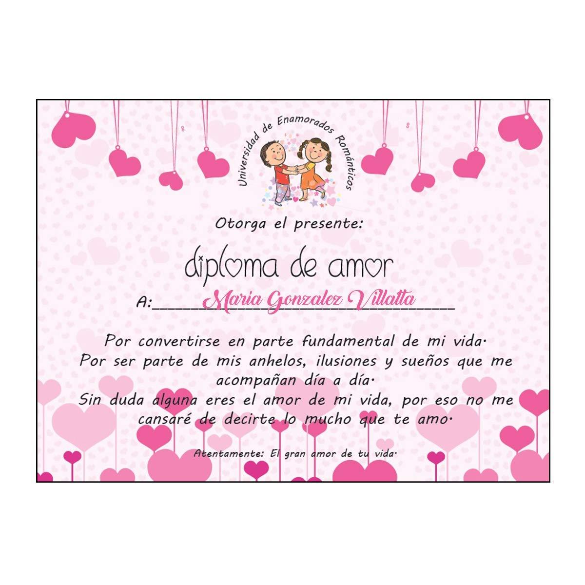 Kembilove Diploma Pareja Personalizado - Diploma de Amor Personalizado con Nombre - Regalo Original para Aniversarios, Cumpleaños, San Valentín, Navidad