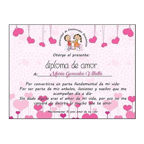 Kembilove Diploma Pareja Personalizado - Diploma de Amor Personalizado con Nombre - Regalo Original para Aniversarios, Cumpleaños, San Valentín, ...