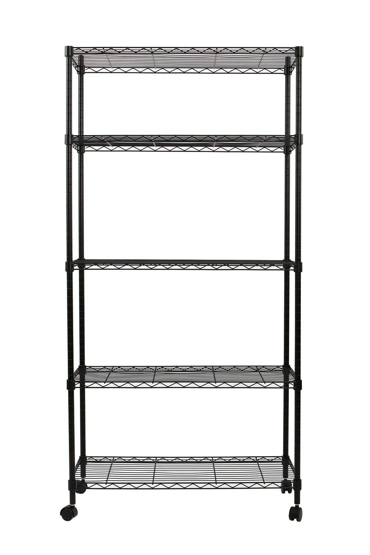 Shelf Organizer Heavy Duty Steel Adjustable Wire Multiuse Organizing Rack (5-Layer)
