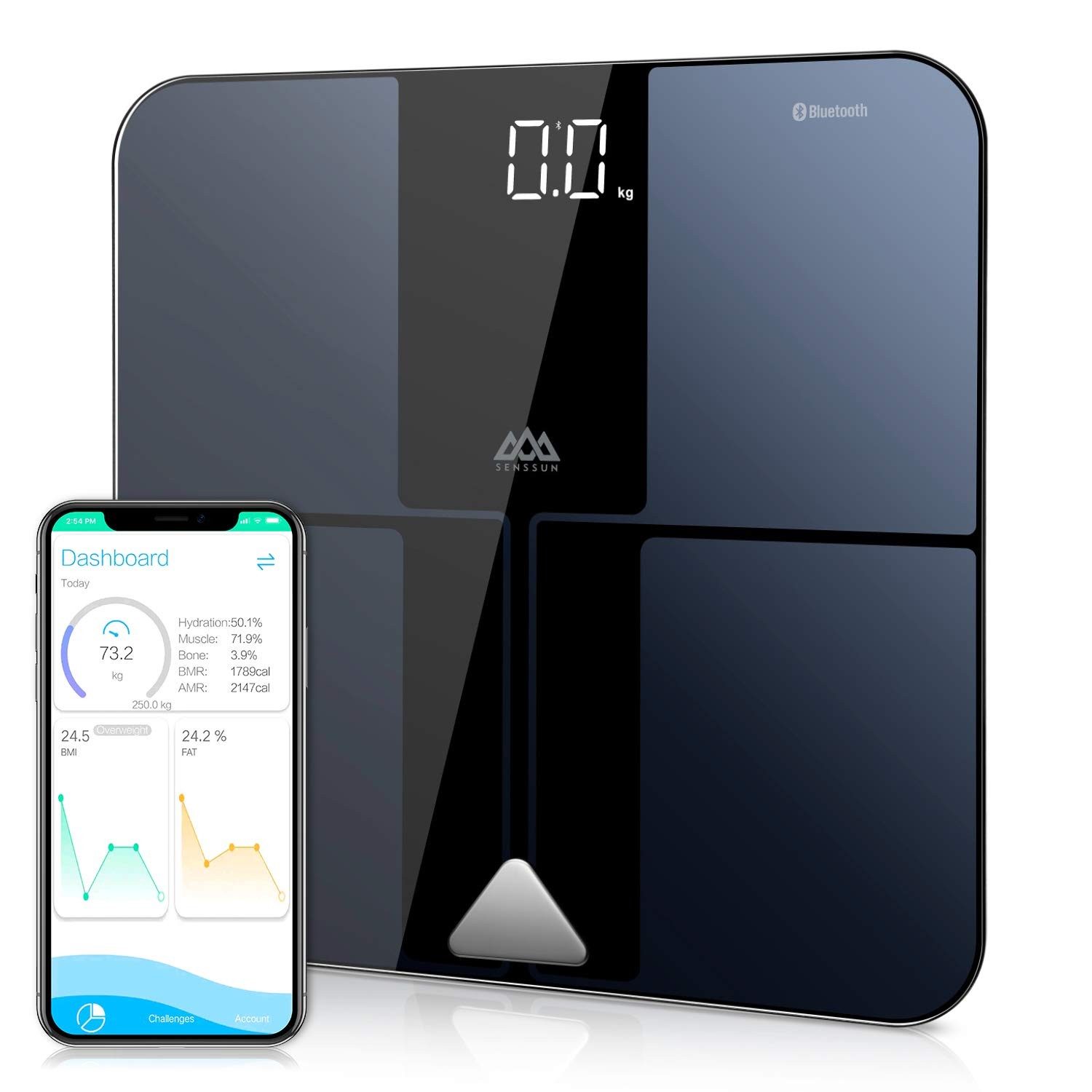 SENSSUN Bluetooth Body Fat BMI Scale, High Precision ITO Coating Bathroom Weight Scale with Smartphone App, Sync with Fitbit, Apple Health and Google Fit,396 lbs, FDA Approved by SENSSUN