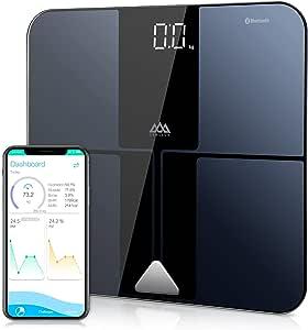 SENSSUN Báscula de grasa corporal Báscula digital inteligente Bluetooth Báscula de análisis corporal Báscula inteligente Pantalla LED Vidrio templado recubierto de ITO Área de pesaje 30 * 30cm(Negro)