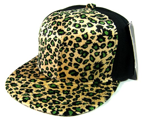 Plain Leopard/Cheetah Snapback Hats Fashion - 6 Panel | Olive Green