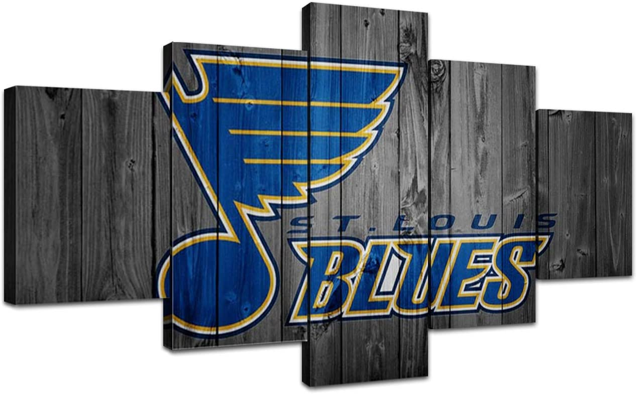 St. Louis Blues Wall Decor Team Logo Art Paintings 5 Piece Canvas Picture Ice Hockey Artwork Living Room Prints Poster Home Decoration Wooden Framed Ready to Hang(60''Wx32''H)