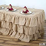 BalsaCircle 21 feet x 29-Inch Natural Brown 3 Tiers Ruffled Burlap Table Skirt Linens Wedding Party Event Decorations Kitchen Dining