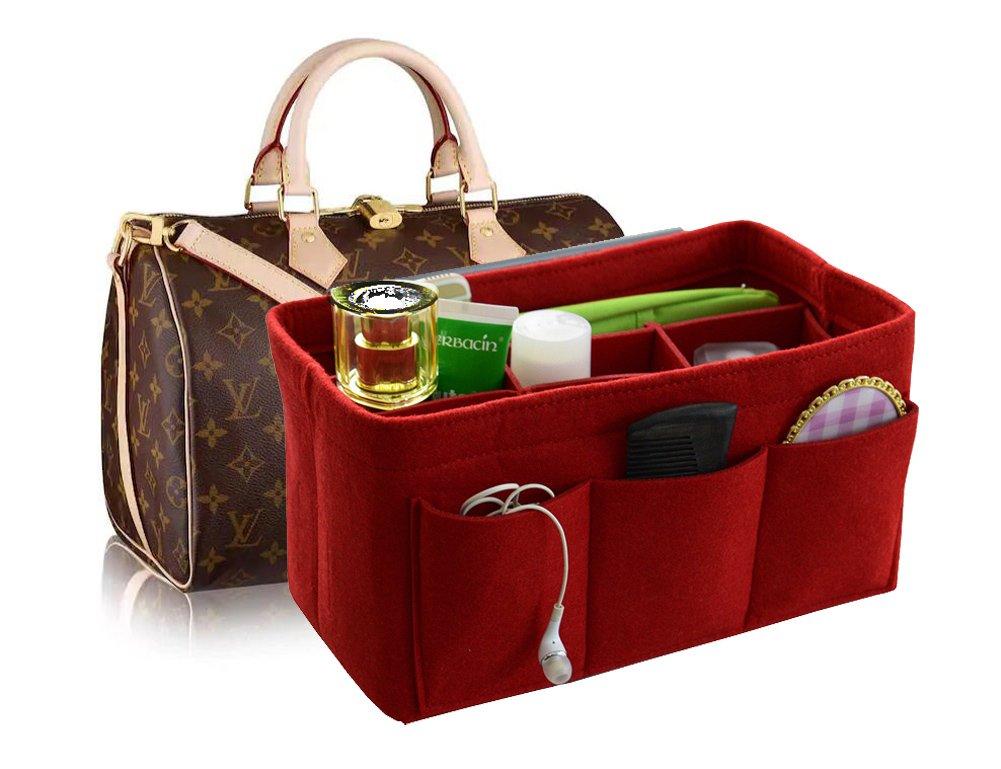 Felt Fabric Handbag Organizer,Insert Purse Organizer 12 Pockets Structure Shaper 4 size Red Medium