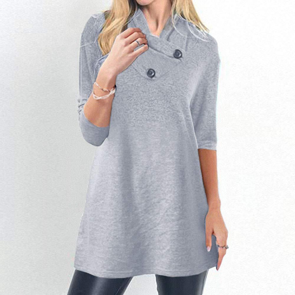 Luckycat Suéter de Manga Larga de Las Mujeres botón Caliente suéter Blusa Camisas Sudadera: Amazon.es: Ropa y accesorios