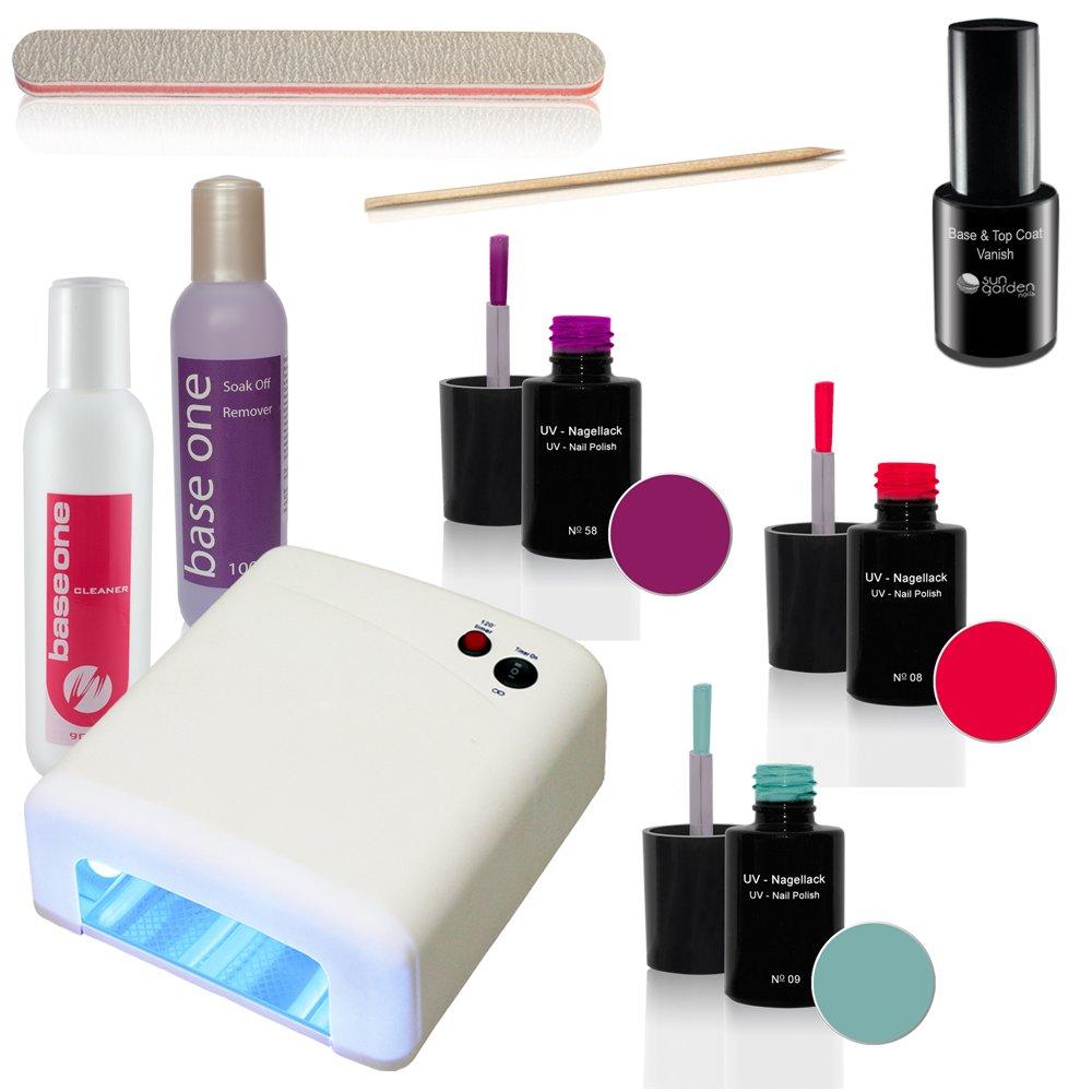 UV Nagellack Set inkl. UV-Lichthärtungsgerät - Gel Lack - Shellac ...