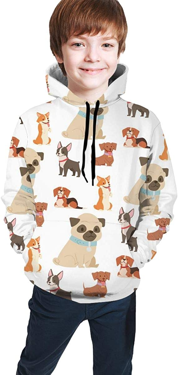 Lichenran Puppy Cute Dogs Funny Purebred Comic Happy Men 3D Print Pullover Hoodie Sweatshirt with Front Pocket