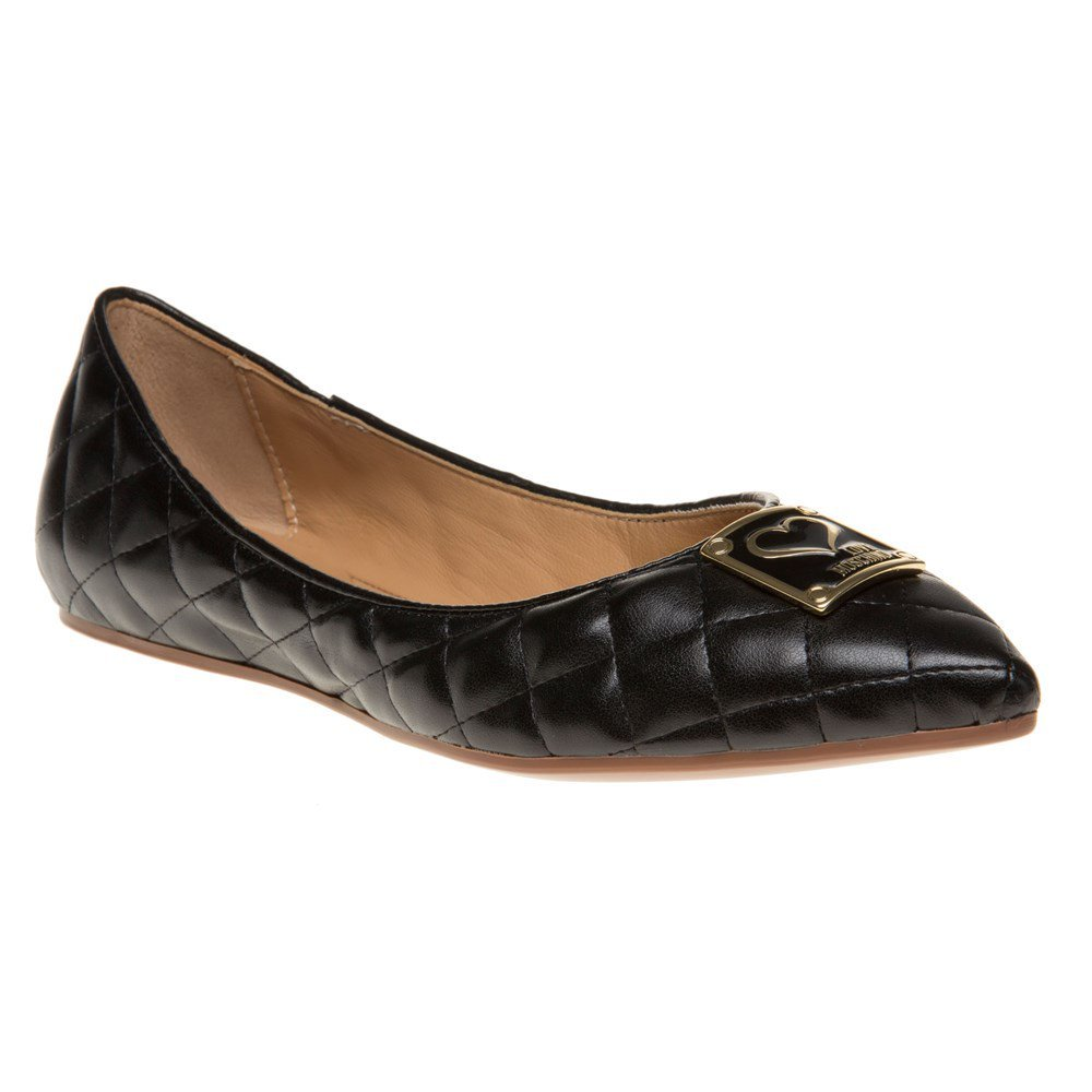 Love Moschino Quilted Ballet Womens Shoes Black