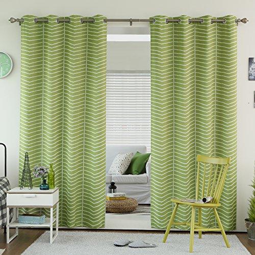 Best Home Fashion Room Darkening Chevron Print Curtains - Stainless Steel Nickel Grommet Top - Avocado - 52