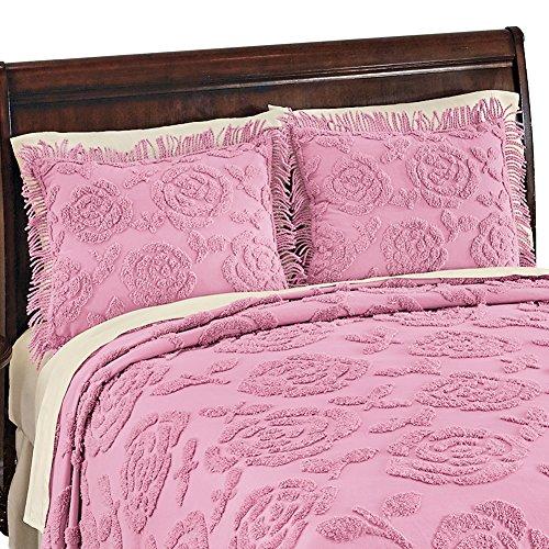 Rose Blossom Chenille Standard Size Pillow Sham with Fringe, Rose, Sham ()
