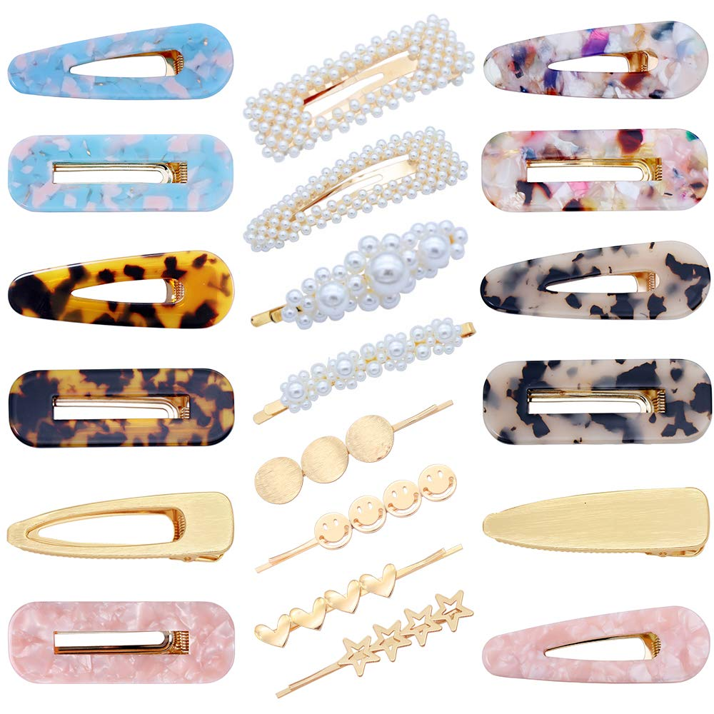 20 PCS Pearls Hair Clips Acrylic Resin Hair Barrettes Hollow Geometric Hair Clip Hairpins for Women and Ladies Headwear Styling Tools : Beauty