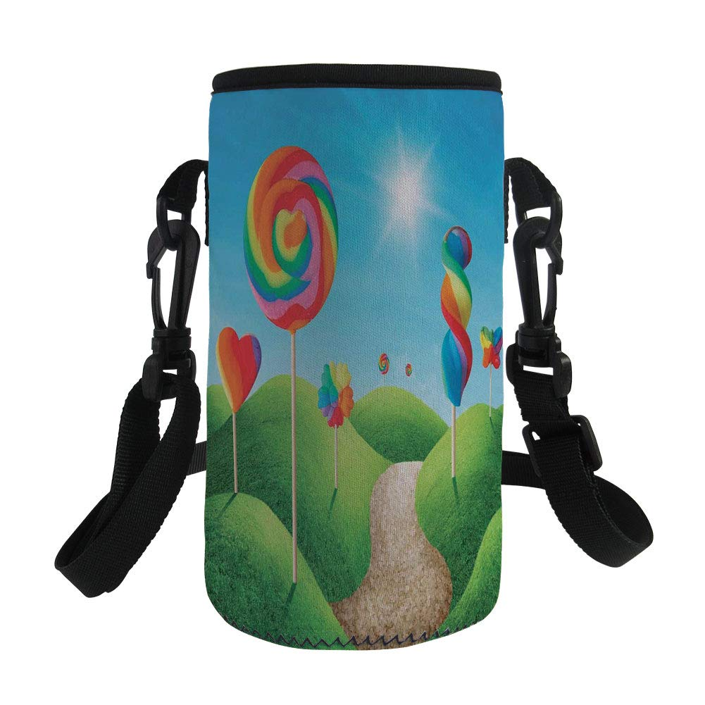 iPrint Small Water Bottle Sleeve Neoprene Bottle Cover,Delicious Lollipops and Sweets Sun Cheerful Fun,fit for Stainless Steel/Plastic/Glass Bottles