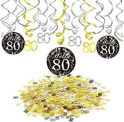 Konsait 80 cumpleaños Negro Colgar Remolino decoración de ...