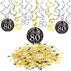 80th Birthday Party Decorations, Konsait 80th Birthday Party Hanging Swirl Decorations Black and Gold (15 Counts), Happy Birthday & 80 Table Confetti (1.05oz), Age 80 Party Supplies