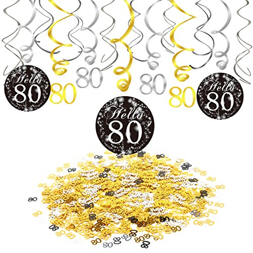 80th Birthday Party Decorations, Konsait 80th Birthday Party Hanging Swirl Decorations Black and Gold (15 Counts), Happy Birthday & 80 Table Confetti (1.05oz), Age 80 Party Supplies -